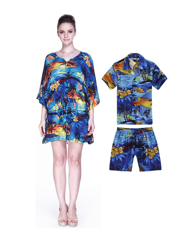 Mother Son Matching Hawaiian Luau Party Dance Dress Ponch...