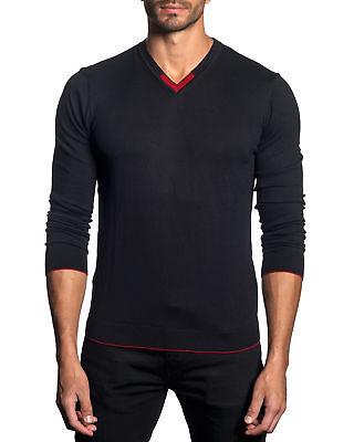 Jared Lang Men's Black Contrast Trim V-Neck Pullover Sweater