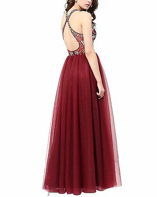 US Women's Long Halter Tulle Prom Dress Halter Evening Gown Beaded Party Dress Beaded Halter Evening Gown