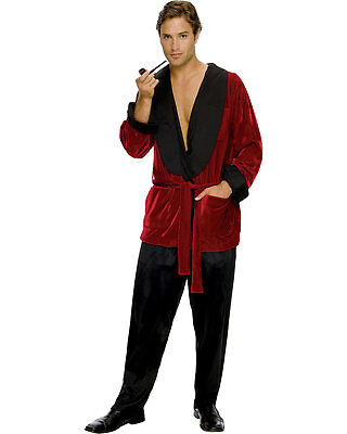 Morris Costumes Men's Playboy Hugh Hefner Red Velvet Pockets Jacket. - Hugh Hefner Halloween