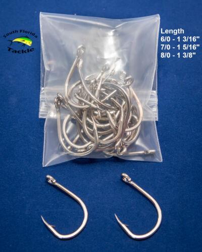 Live Bait Hooks Nickel Colored Carbon Steel - 6/0 7/0 8/0 - 50 or 100 pack
