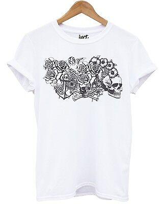 Cherub White T Shirt Skull Roses Cross Rosary Beads Emo Graphic Tattoo Design -