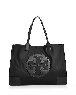 NEW Authentic Tory Burch Ella Nylon Logo Tote Bag Black