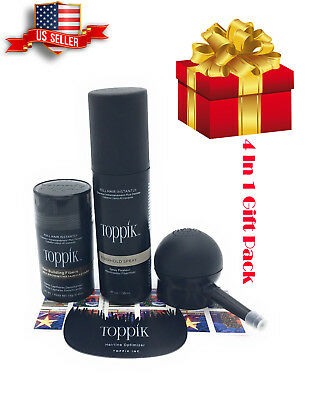 TOPPIK medium brown 12g 4 in 1 Gift Pack Comb,Applicator, Spray, Hair fibers