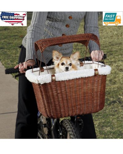 New Outdoor Wicker Bicycle Basket Carrier Puppy Pet cat Portable Bike Seat Brown