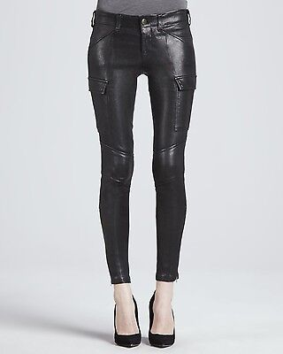 1095 J Brand Houlihan Leather Cargo Skinny Pants Noir Black 27 New Sold Out Nwt