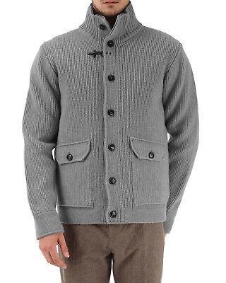 Fay Mens Knitted Wool Jacket US Medium / IT 50 Grey