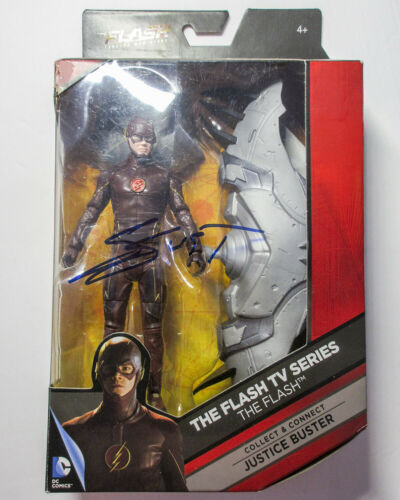 "Grant Gustin Signed The Flash 6"" Action Figure DC Multiverse Justice Buster JSA"