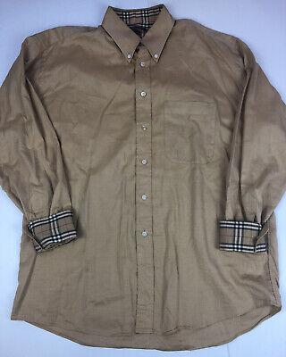 Vintage Burberry London Beige Tan Nova Check Print Dress Shirt Mens Size Large