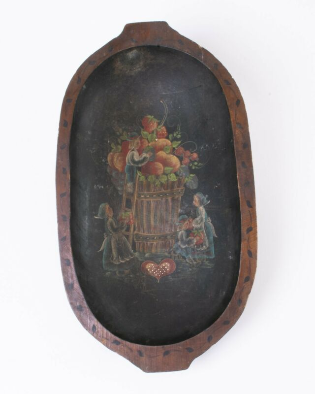 """Large Antique Carved Wood Dough Bowl Trencher Painted Dutch Folk Art 20.5"""""""