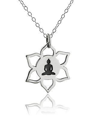 Lotus Flower Buddha (Lotus Flower Buddha Necklace - 925 Sterling Silver NEW Meditation Pendant Symbol )