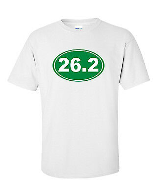 (26.2 Marathon Runner Oval Logo T-Shirt - 100% Cotton Gildan, Top Quality NEW)