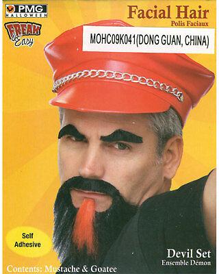 Morris Costumes Men's Mustache Goatee Devil Set Black/Red. PM531245BKRD](Devil Mustache)