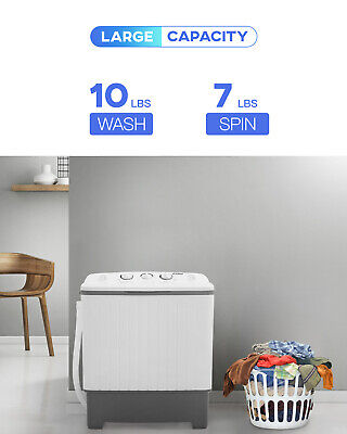 Portable Washing Machine Mini Compact Twin Tub Washer 10lbs Capacity with Spin Home & Garden