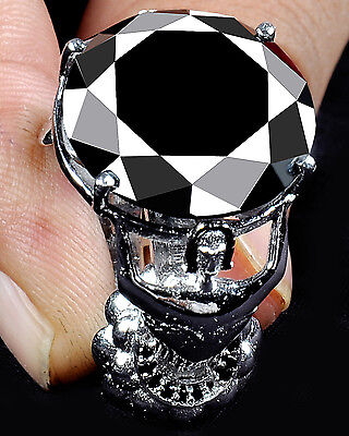 25 51 Ct Aaa Black Round Cut Solitaire World Cup  925 Silver Ring   See Video