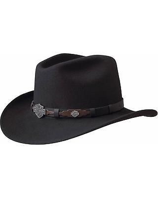 Harley Davidson Leather Overlay and Concho Wool Felt Crushable Cowboy Hat Black