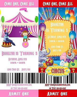 Circus/Carnival Printable Movie Ticket Style Birthday Party Invitations