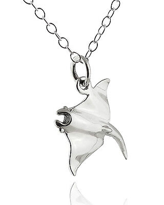Manta Ray Pendant Necklace - 925 Sterling Silver Stingray Ocean Rays Charm NEW