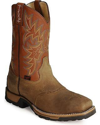 Tony Lama Tlx Cowboy Work Boot   Steel Square Toe Antique Brown 8 5 D