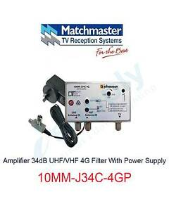 MATCHMASTER Amplifier 34dB UHF/VHF 4G Filter - 10MM-J34C-4GP Parramatta Parramatta Area Preview