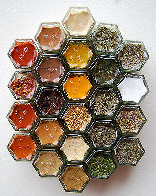 Lot of 48 8 oz Glass Honey Comb Shaped Kitchenware Spice Jars