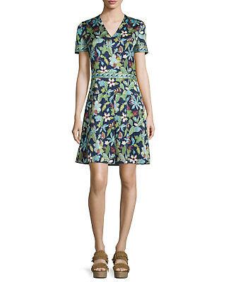 $450 NWT Tory Burch Garden Wisteria V- neck Short Sleeve Silk Floral Dress sz 4