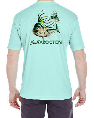 Salt Addiction Short Sleeve Micro Fiber T-Shirt saltwater Roosterfish uv poly