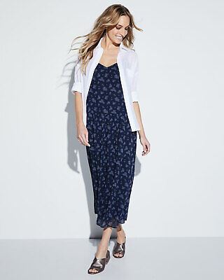 NEW VINCE Coastal Navy Blue Calico Floral Print Luxe Silk Cami Slip Midi Maxi XS Printed Silk Floral Camisole Dress