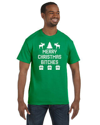 Merry Christmas Bitches Mens Tee Shirt Ugly Great Christmas Gift! S-5XL! ()