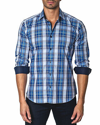 Jared Lang Trim Fit Plaid Button Down Shirt Medium Blue W/ Contrast Cuffs