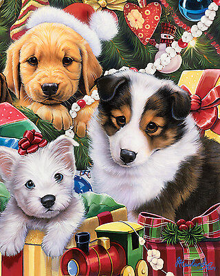 FAUX FUR MINK CHRISTMAS HOLIDAY PUPPIES DOGS GIFT PETS THROW BLANKET 48X60 SOFT