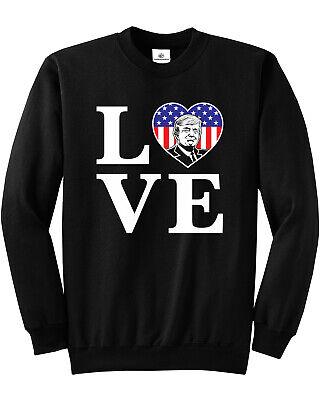 LOVE Trump American Flag Heart Unisex Sweatshirt USA (American Flag Heart)