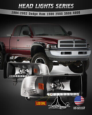 For 94-02 Dodge Ram 1500 2500 3500 Headlights LED DRL Front Lamp Black/Clear