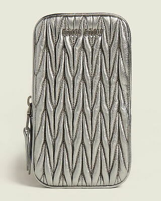 New MIU MIU Silver Nappa MATELASSE Leather Mini Shoulder Crossbody Bag