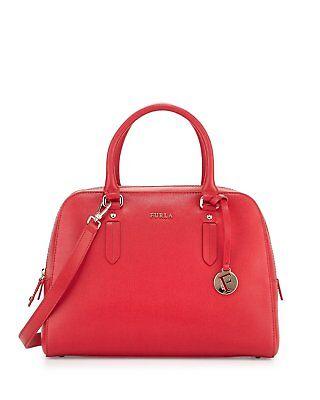 Authentic New Furla Elena Medium Leather Satchel Bag, Ruby