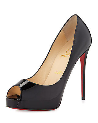 100% AUTH NEW WOMEN LOUBOUTIN NEW VERY PRIVE 120 BLACK PATENT HEELS/PUMPS US 8.5