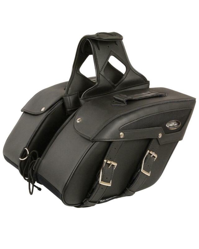 Milwaukee Leather Medium Zip-Off PVC Slanted Throw Over Saddle Bag Black