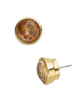 Michael Kors Earrings Gold Tone 0.5' Bezel Set Cubic Zirconia Stud Earrings  Cubic Zirconia Bezel Set Earrings