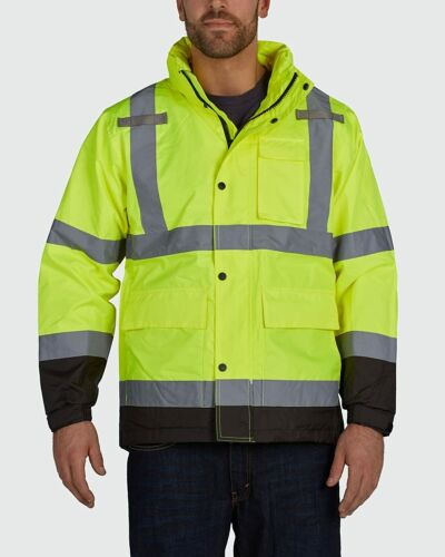 Utility Pro Premium High Visibility Yellow Waterproof Rain Jacket Large UHVR642