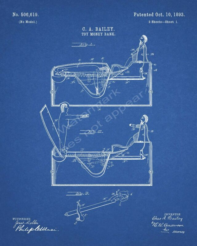 J & E Stevens Worlds Fair Columbus Cast Iron Bank Patent Print - Blueprint