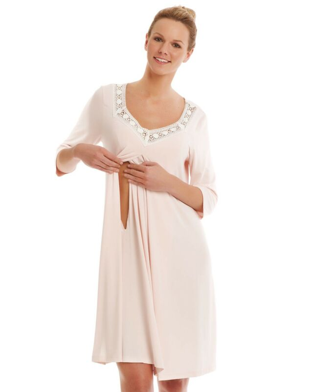 NEW Bellefit Maternity Pajama Postpartum Breastfeeding Nursing Pregnancy Gown L