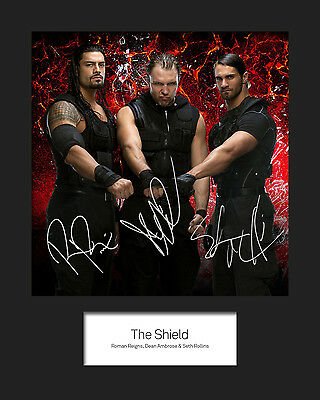 THE SHIELD (Reigns, Rollins, Ambrose) #1 (WWE) Signed 10x8 Mounted Photo Print