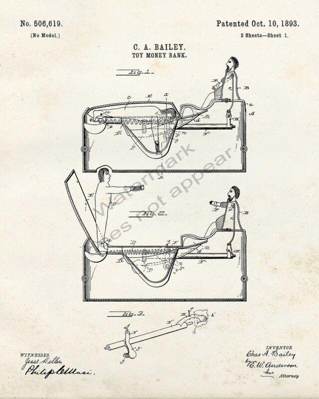 J & E Stevens Worlds Fair Columbus Cast Iron Bank Patent Print - Retro Look