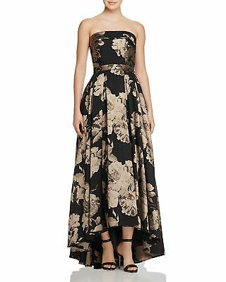$408 AVERY G Womens BLACK FLORAL-PRINT STRAPLESS SLEEVELESS GOWN DRESS SIZE 8