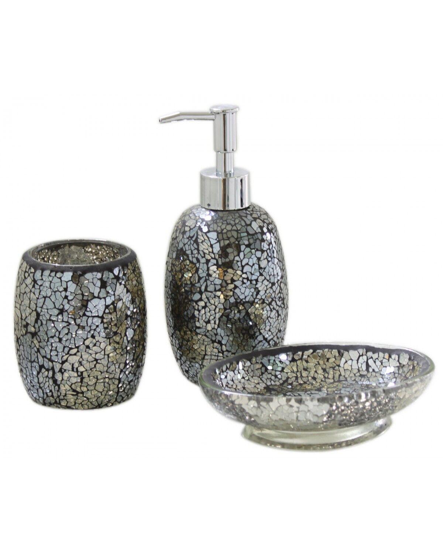 Black and Gold Sparkle Mosaic Glass Bathroom Set Soap Dispenser Dish ...