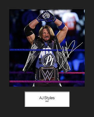 AJ STYLES #1 (WWE) Signed (Reprint) 10x8 Mounted Photo Print - FREE DEL