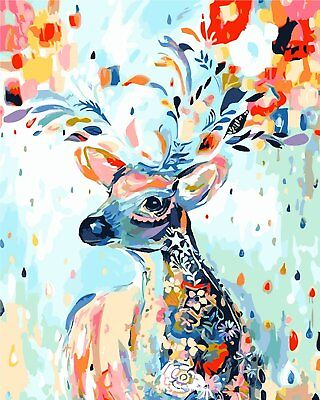 Diy Oil Painting Paint by Number Kit for Adult Kids-Painted Deer 12''x16'' - Paint By Number Kits For Adults