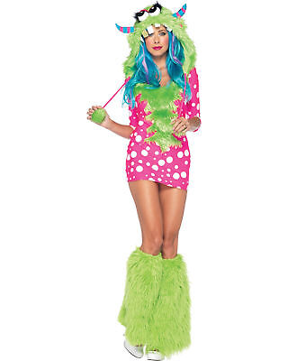 Women's Furry Pink Green Melody Monster Dress Outfit Adult Halloween Costume XS (Green Furry Costume)
