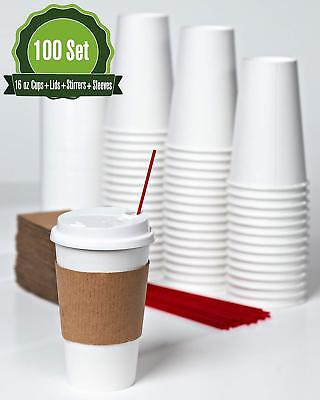 Hot White Paper Coffee Cups With Lids Stirrers And Sleeves. 16 Oz -100 Set
