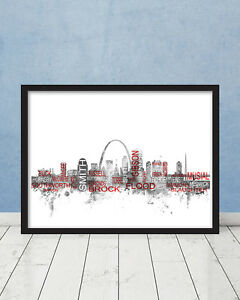 St Louis Cardinals Hall of Fame Players Skyline Wall Art Baseball Print Gift MLB